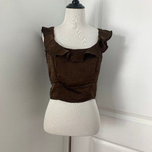 Brown Satin Crop Top